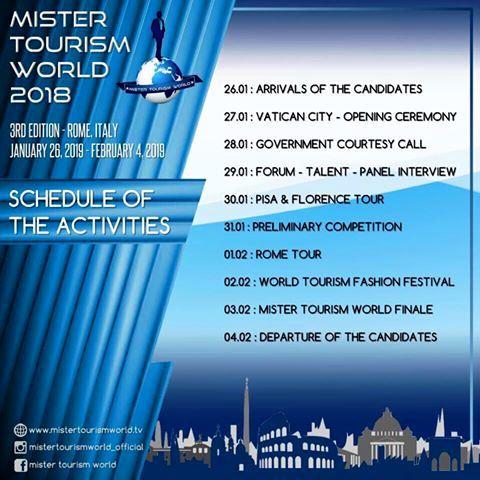 A ROMA 26 gennaio al 3 febbraio 2019 MISTER TOURISM WORLD / Moda
